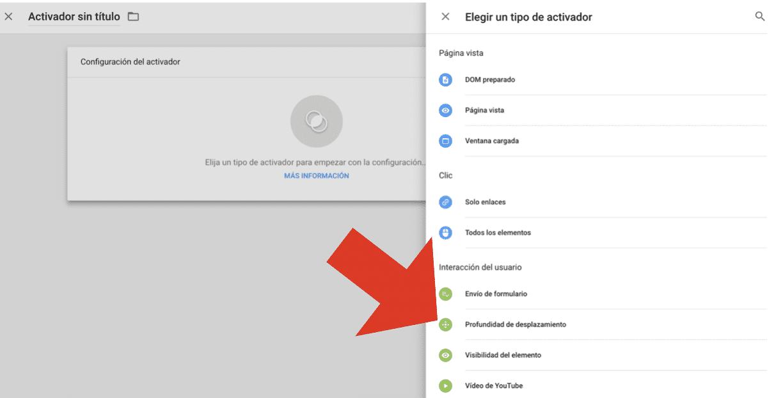 Cómo crear un evento de scroll en Google Tag Manager 7
